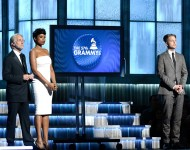 President of the National Academy of Recording Arts and Sciences, Neil Portnow, recording artists Jennifer Hudson and Ryan Tedder speak onstage during The 57th Annual GRAMMY Awards