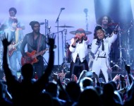 Gary Clark Jr. and Janelle Monae take part in the 2014 Halftime show.