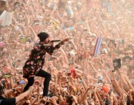 Tyler Joseph of Twenty One Pilots performs at the Firefly Music Festival.