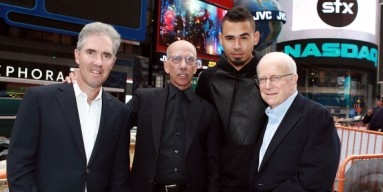Mitchell Slater, Vice Chairman of the Board of Directors, Robert F.X. Sillerman, CEO of SFX, Afrojack and Sheldon Finkel, Vice Chairman rings the NASDAQ closing bell on October 9, 2013 in NYC