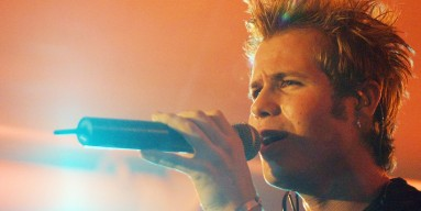 Ashley Parker Angel performs with O-Town in 2001