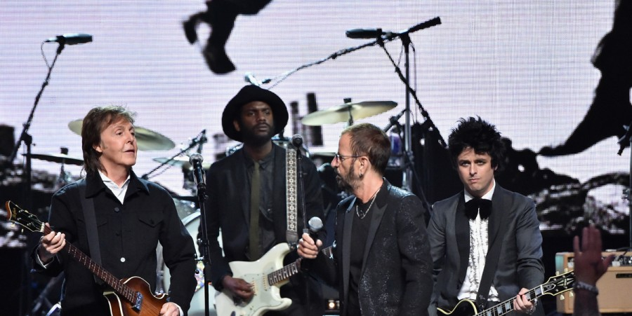 Paul McCartney, Gary Clark Jr., Ringo Starr and Billy Joe Armstrong represent at the Rock and Roll Hall of Fame Induction Ceremony.