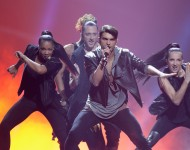 Tooji performs for Norway at Eurovision.