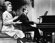 Pat Nixon, with accompaniment from husband Richard.