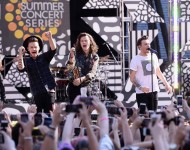 Liam Payne, Harry Styles, and Louis Tomlinson of One Direction perform on Good Morning America at Rumsey Playfield, Central Park on August 4, 2015