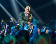 Recording artists Eminem performs onstage at the 2014 MTV Movie Awards at Nokia Theatre