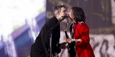 Pete Doherty and Caral Barat of The Libertines performs on stage at British Summer Time Festival at Hyde Park