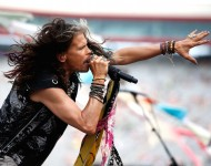 Steven Tyler performs prior to the NASCAR Sprint Cup Series IRWIN Tools Night Race at Bristol Motor Speedway