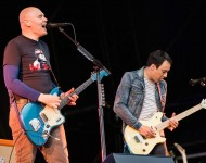 Billy Corgan and Jeff Schroeder of the Smashing Pumpkins perform on the Other Stage during day 4 of the 2013 Glastonbury Festival at Worthy Farm