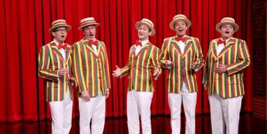 "A.D. Miles, Bob Martin, Joseph Gordon-Levitt, Jimmy Fallon, and Chris Tartaro perform ""BBHMM"" as the Ragtime Gals"