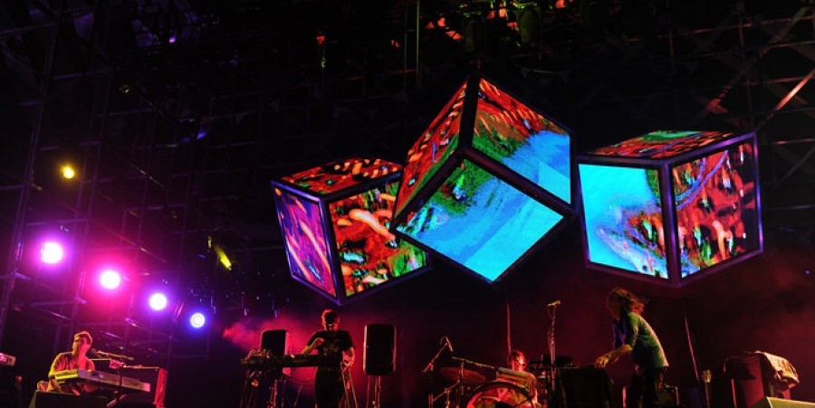 Musical group Animal Collective performs during Day 2 of the Coachella Valley Music & Arts Festival 2011 held at the Empire Polo Club on April 16, 2011 in Indio, California