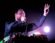 Musician Dan Deacon performs during The Reflector Tour at The Forum on August 2, 2014 in Inglewood, California.