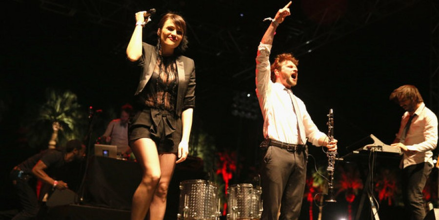 Singer Zoe Colotis and musician Camille Chapeliere of Caravan Palace perform onstage during day 1 of the 2014 Coachella Valley Music & Arts Festival at the Empire Polo Club on April 11, 2014 in Indio, California.