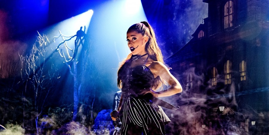 Singer Ariana Grande performs during IHeartMedia presents Ariana Grande World Premiere Event on the Honda Stage at iHeartRadio Theater on October 30, 2015 in Burbank, California.