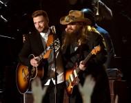 Chris Stapleton performs with Justin Timberlake at 2015 CMA Awards