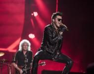 Adam Lambert (R) and Brian May from Queen + Adam Lambert performs at 2015 Rock in Rio