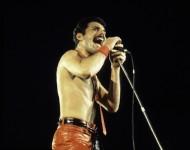 Singer Freddie Mercury of Queen at the Rosemont Horizon on September 19, 1980 in Rosemont, Illinois.