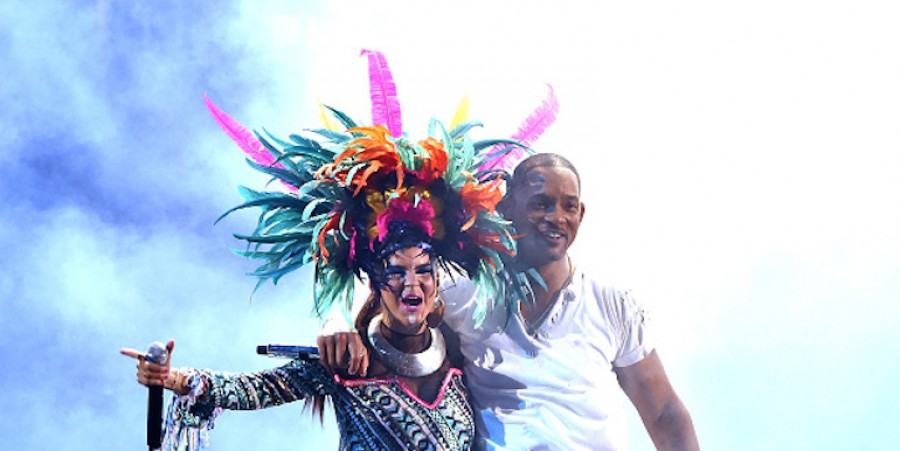 Liliana Saumet of Bomba Estereo and actor/recording artist Will Smith perform onstage during the 16th Latin GRAMMY Awards at the MGM Grand Garden Arena on November 19, 2015 in Las Vegas, Nevada.