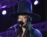 Erykah Badu performs onstage at the 10th Annual Jazz in the Gardens: Celebrating 10 Years of Great Music at Sun Life Stadium