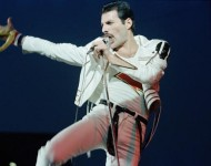 Singer Freddie Mercury of rock band Queen performs on stage at Elland Road football stadium in Leeds, England on May 29, 1982.