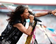 Steven Tyler performs prior to the NASCAR Sprint Cup Series IRWIN Tools Night Race at Bristol Motor Speedway on August 22, 2015 in Bristol, Tennessee. (