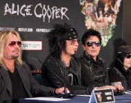 Vince Neil, Nikki Sixx, Tommy Lee and Mick Mars of Motley Crue attend the last ever European press conference for Motley Crue at Law Society