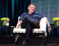 writer/executive producer Steven Moffat speaks onstage during the 'Doctor Who' panel discussion at the BBC America portion of the 2015 Summer TCA Tour at The Beverly Hilton Hotel on July 31, 2015 in Beverly Hills, California.