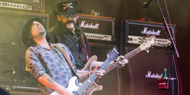 Lemmy and Phil Campbell from Motorhead performs on The Pyramid Stage during the Glastonbury Festival at Worthy Farm, Pilton