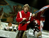 Singer Bruce Dickinson of Iron Maiden performs at Ozzfest 2005 at the Hyundai Pavilion on August 20, 2005 in San Bernandino, California.