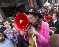 Arcade Fire take part in a second line honoring David Bowie in the French Quarter on January 16, 2016 in New Orleans.