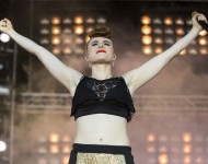 Kiesza performs at MTV Crashes Plymouth at Plymouth Hoe on July 15, 2014 in Plymouth, England.