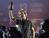 Eddie Vedder of Pearl Jam performs at the 2015 Global Citizen Festival in Central Park on September 26, 2015 in New York City