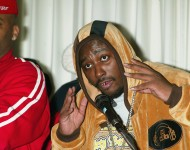 Rapper Ol' Dirty Bastard (aka. ODB & Dirt McGirt) attends a news conference to announce his signing with Roc-A-Fella Records at the Rihga Royal Hotel May 1, 2003 in New York City. The controversial rapper was released from prison earlier today after being