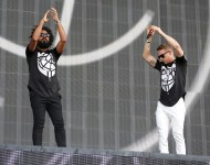 Jillionaire and Walshy Fire of Major Lazer perform on day 1 of the New Look Wireless Festival at Finsbury Park on July 3, 2015 in London, England