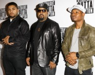 O'Shea Jackson Jr, Ice Cube and Jason Mitchell attend a special screening of Straight Outta Compton