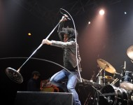 Cedric Bixler-Zavala of At The Drive-In performs on stage at Splendour In The Grass on July 27, 2012 in Byron Bay, Australia.