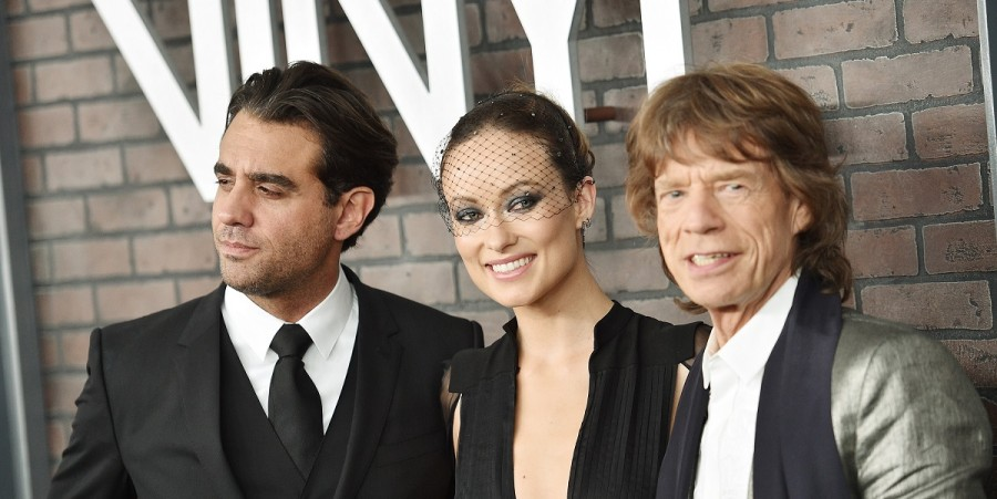 Bobby Cannavale, Olivia Wilde, and Mick Jagger attend the New York premiere of 'Vinyl' at Ziegfeld Theatre