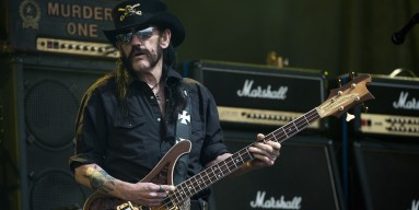 Lemmy from Motorhead performs on The Pyramid Stage during the Glastonbury Festival at Worthy Farm, Pilton