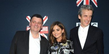 Steven Moffat, Jenna Coleman, and Peter Capaldi attends BBC America's 'Doctor Who' Premiere Fan Screening at Ziegfeld Theater on August 14, 2014 in New York City.