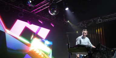 Flume, performs at the MTV Artist To Watch Event at Highline Ballroom on April 14, 2014 in New York City.