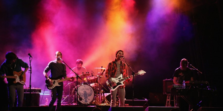 (L-R) Chris Duran, Paul Impellizeri,Carl Bahner, Joe Haller and Josh Pannepacker of the band Cheerleader perform at the Firefly First Look Concert Featuring Cheerleader and Chiddy Bang at the Trocadero January 25, 2015 in Philadelphia, Pennsylvania.