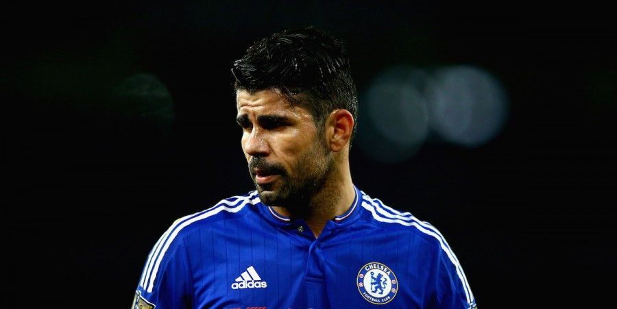 Diego Costa of Chelsea looks on during the Barclays Premier League match between Arsenal and Chelsea at The Emirates Stadium on January 24, 2016 in London, England.