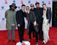 Jillionaire, singer J Balvin, producer Diplo, DJ Walshy Fire and MO (Major Lazer) attend the 16th Latin GRAMMY Awards on November 19, 2015