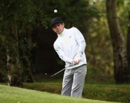 Niall Horan chips during the Pro-Am ahead of the BMW PGA Championship at Wentworth on May 20, 2015 in Virginia Water, England.