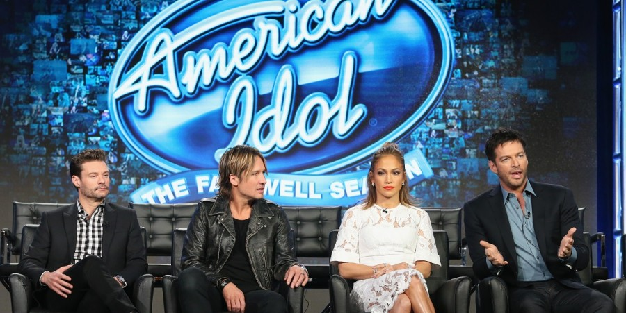 Ryan Seacrest, Keith Urban, Jennifer Lopez and Harry Connick Jr. speak onstage during the 'American Idol' panel at the FOX portion of the 2015 Winter TCA Tour