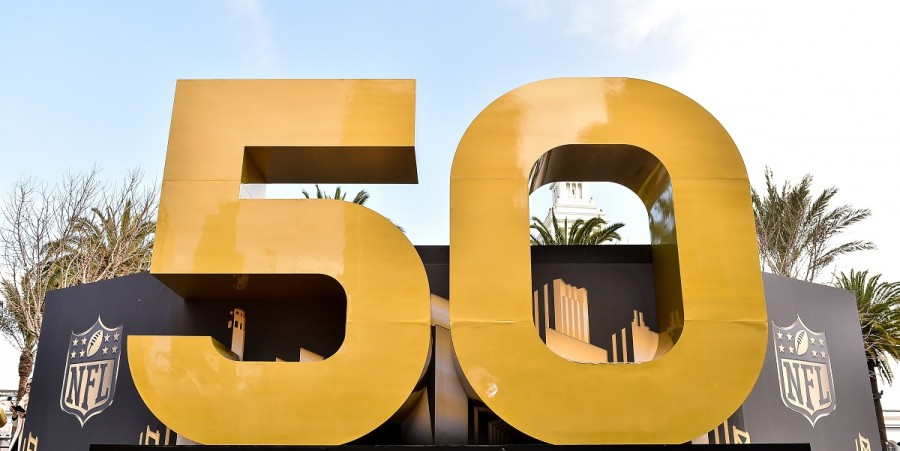 Super Bowl 50 signage is displayed around Super Bowl City on February 4, 2016 in San Francisco, California.