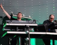 Tom Rowlands and Ed Simons of The Chemical Brothers perform live on stage during the second day of the Wireless Festival at Hyde Park