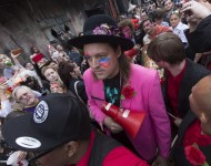 Win Butler of Arcade Fire takes part in a second line honoring David Bowie through the French Quarter