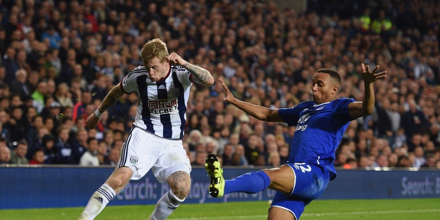James McClean of West Bromwich Albion is blocked by Brendan Galloway of Everton during the Barclays Premier League match between West Bromwich Albion and Everton at The Hawthorns on September 28, 2015 in West Bromwich, United Kingdom.