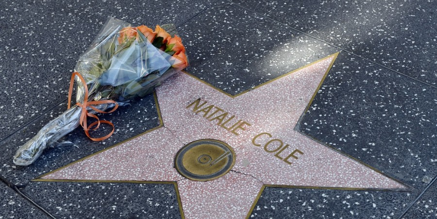 Flowers are placed on the star of singer Natalie Cole on the Hollywood Walk of Fame on January 1, 2016 in Hollywood, California. The Grammy winning singer died aged 65.